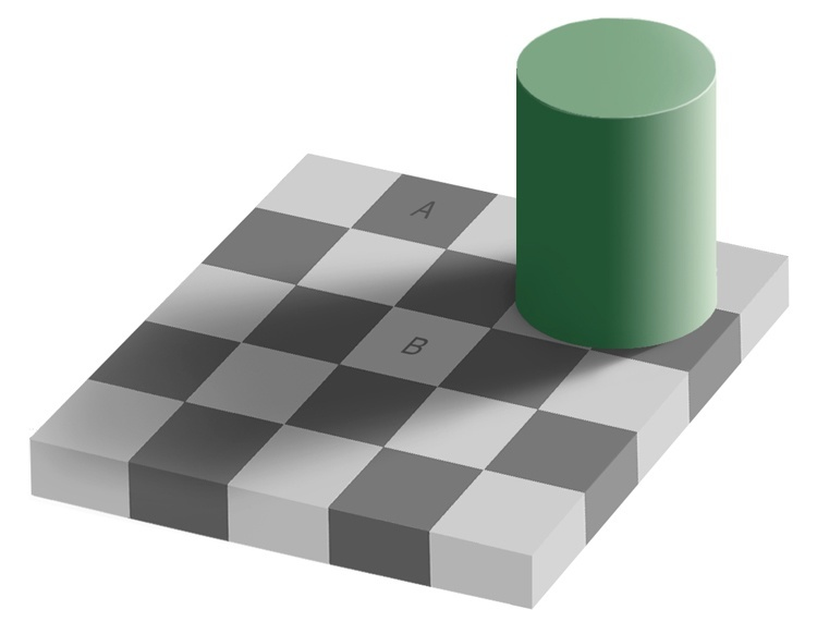 Optical Illusions Gray Square Shadow