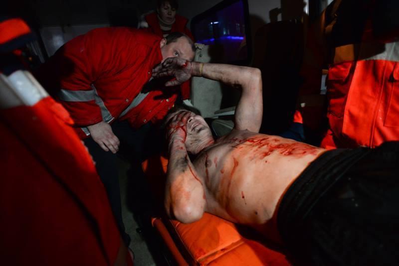 Protester Injured During Ukraine's Euromaidan Rally.