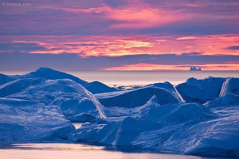 Ilulissat Icefjord at Sunset