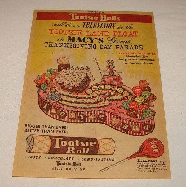 1954 Thanksgiving Tootsie Roll Ad