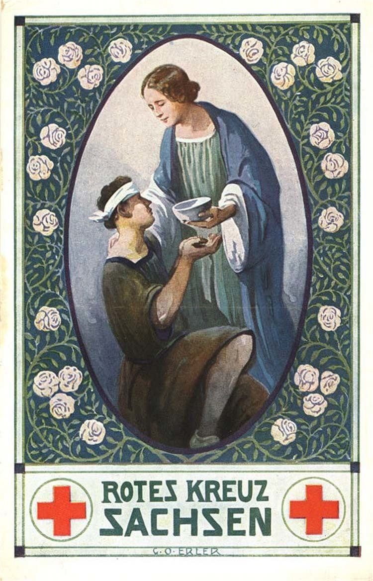 1913: The healing mother, shown in the saintly position of feeding the poor and unfortunate.