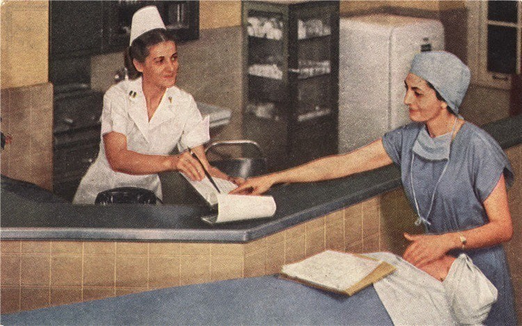 1950's: Nurses get a nod of respect in 1950's advertising, with at least one photo emerging of a modern and organized head nurse making the rounds.