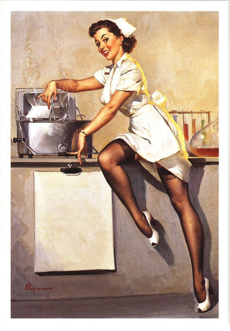 1960's: A reproduction created in the 2000's showing a nurse in full 1960 style pinup-mode.