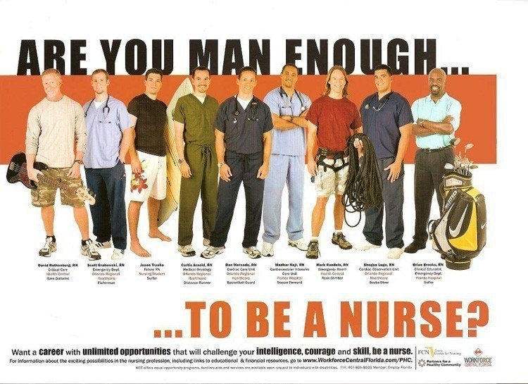 """2000's: A call out for males to enter the nursing field; """"Are you man enough?"""""""