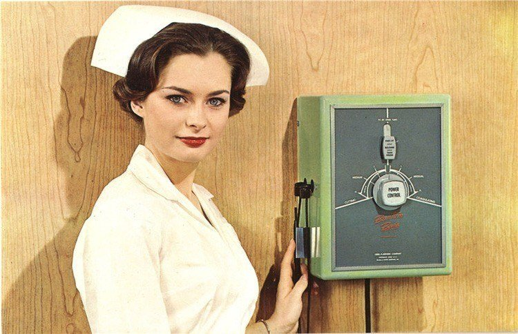 1970s: This postcard advertisement is supposed to be for the electro-surgical unit, but the focal point was the attractive, heavily made-up nurse/model.