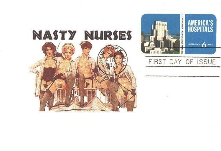 1971: Probably quite brazen for a postcard at the time; they're nurses and they're nasty.