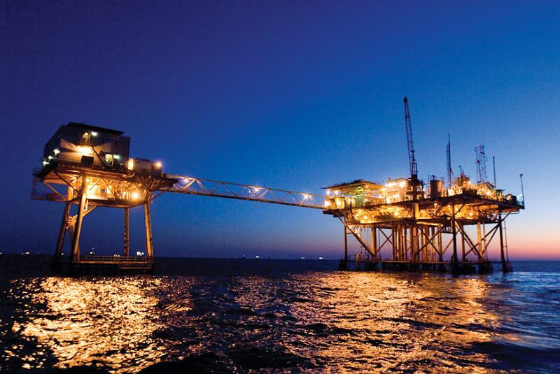 Oil Production Business Offshore Night