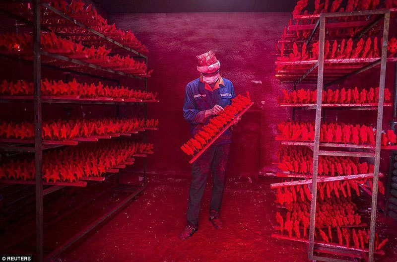 Red Dye in Yiwu, China