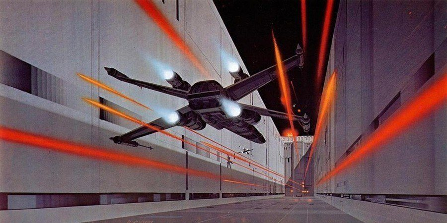 X-Wing Flies Into The Death Star