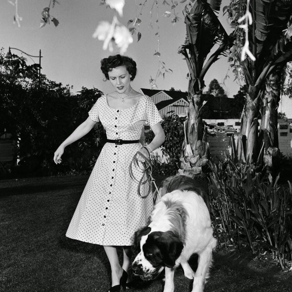 Betty White walking her dog