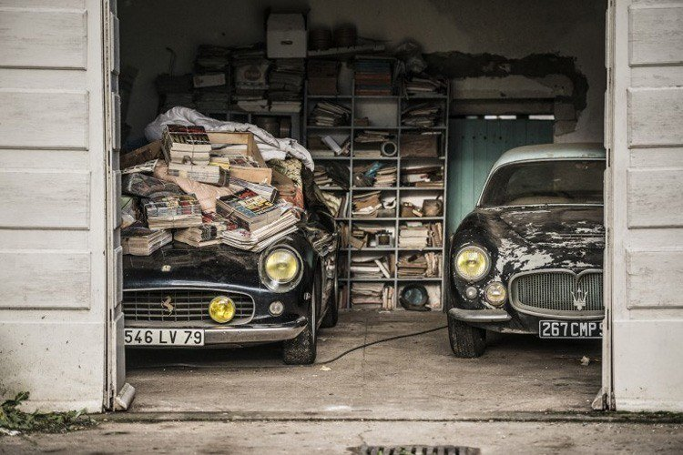 Classic Cars Stacked Magazines