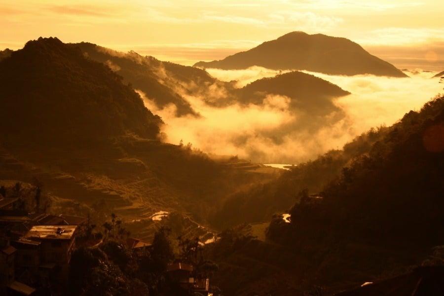 Rice Terraces Sunrise Mountains