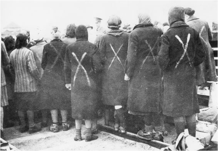 Women's concentration camp prisoners marked with an