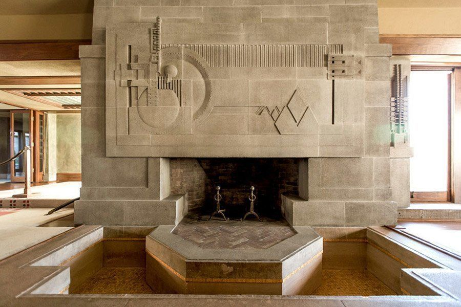 frank lloyd wright hollyhock house hearth pool