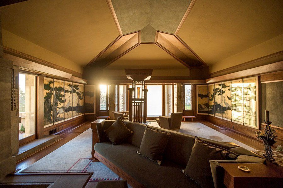 frank lloyd wright hollyhock house living room to outside