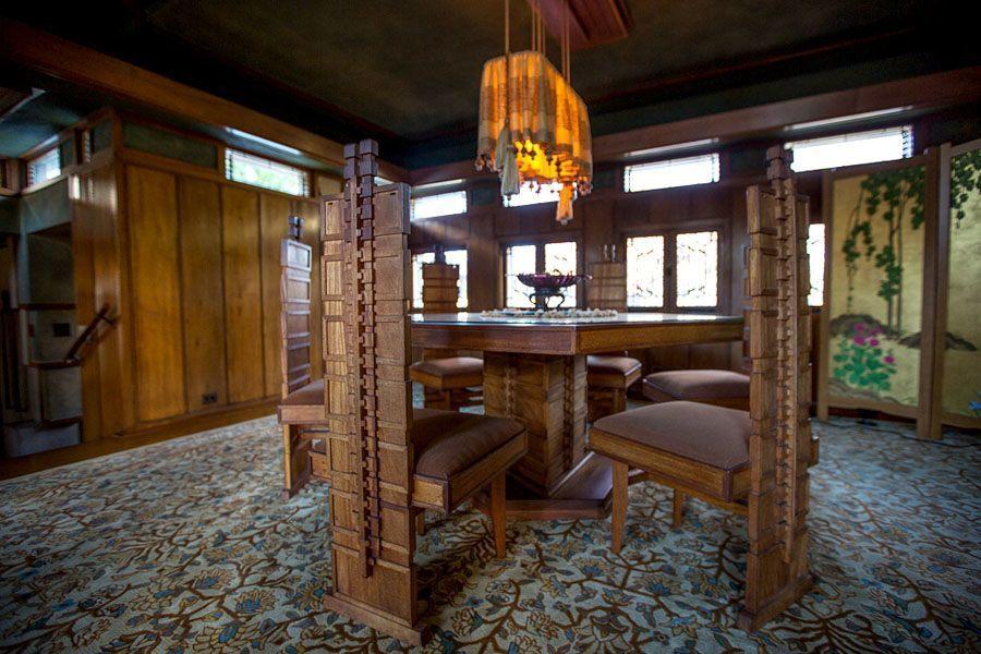 frank lloyd wright hollyhock house dining room