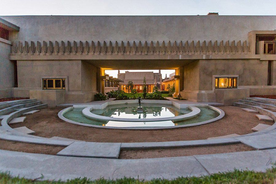 frank lloyd wright hollyhock house fountain