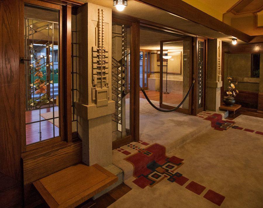 frank lloyd wright hollyhock house foyer
