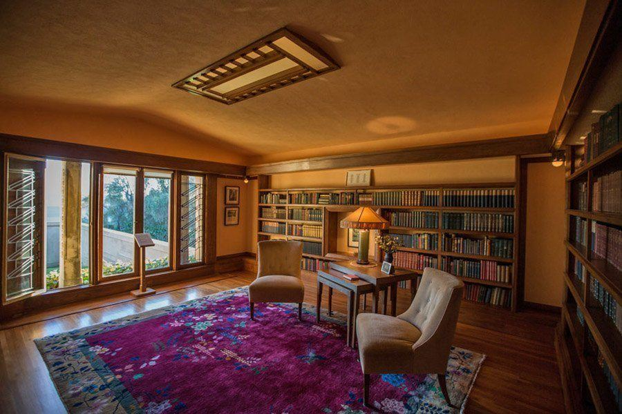frank lloyd wright hollyhock house library