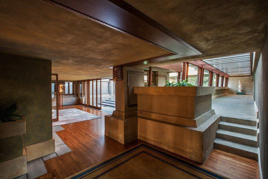 frank lloyd wright hollyhock house open floorplan