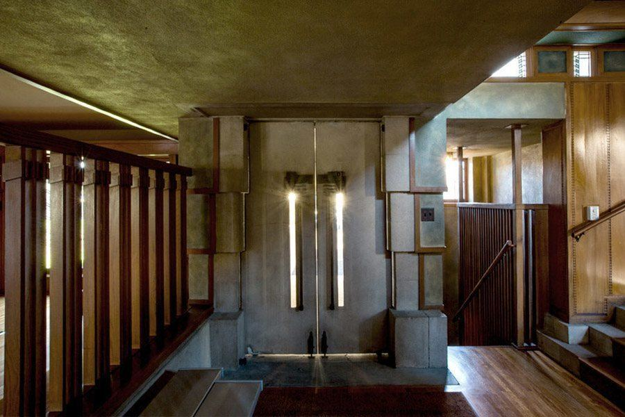 frank lloyd wright hollyhock house sunlit doors