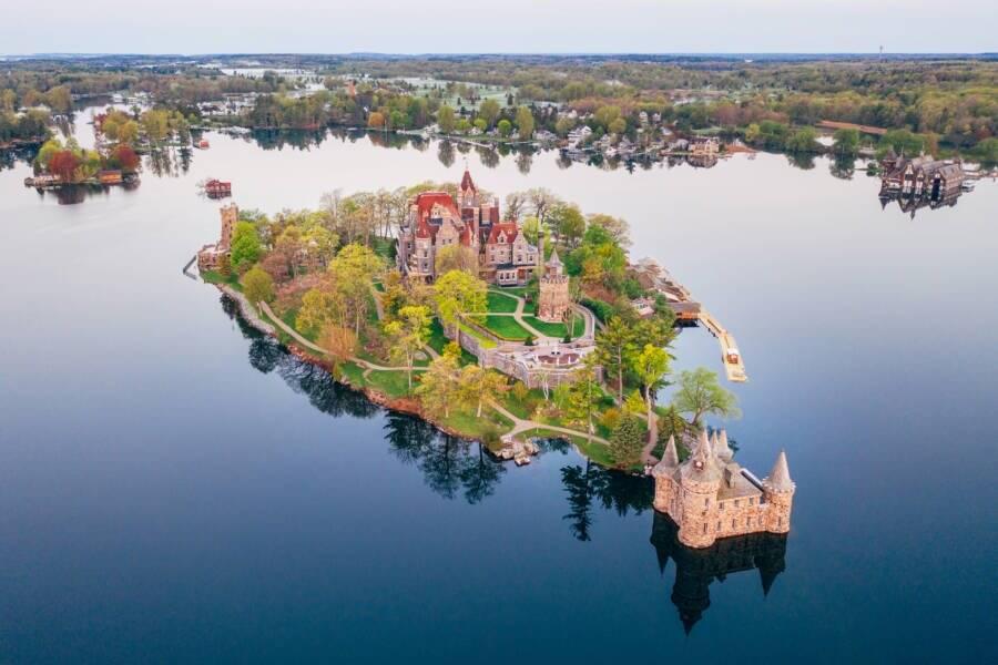 Aerial Boldt Castle Dawn