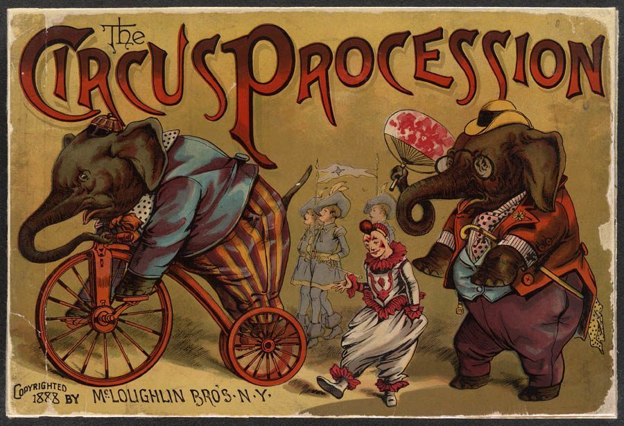 classic circus procession poster