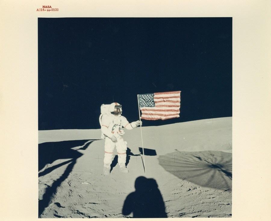 classic nasa flag moon