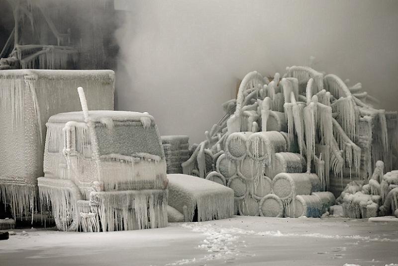 Global Warming Frozen Truckyard