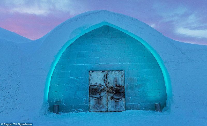 Entrance to Ice Hotel in Sweden