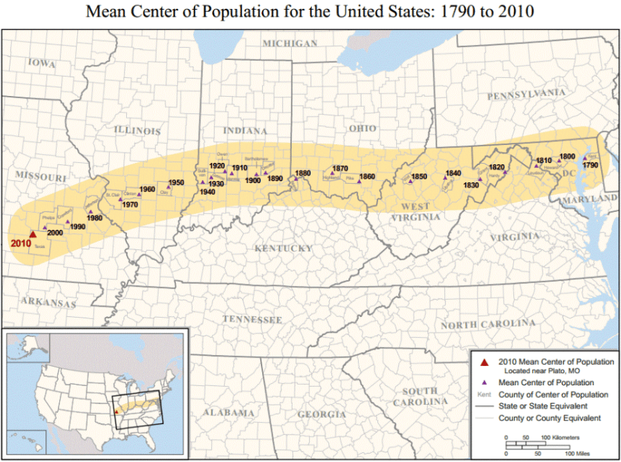 mean center of population in the united states