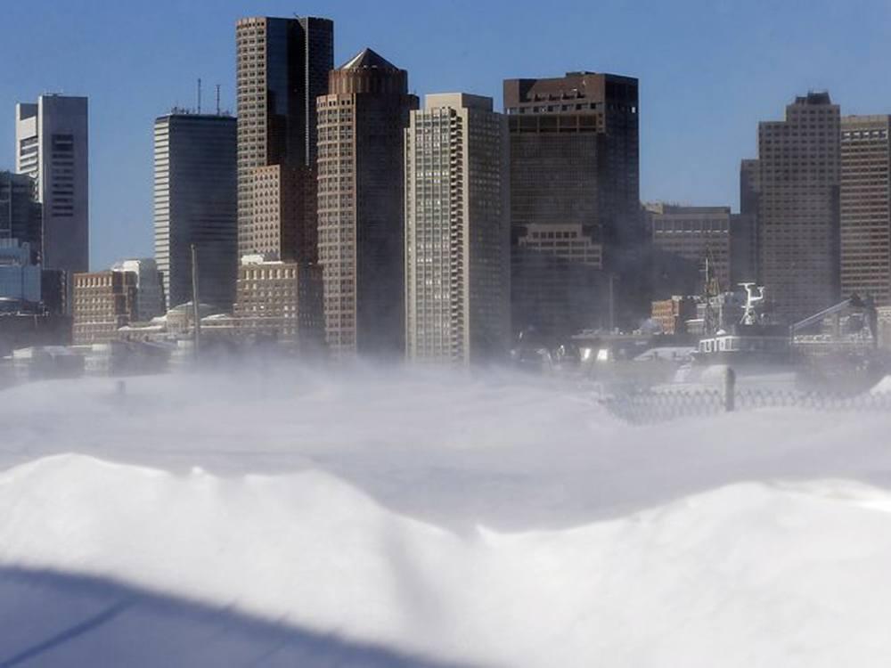 Boston skyline heavy snow