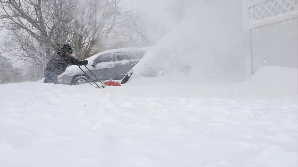 Snowblowing during massive northeast snowfalls