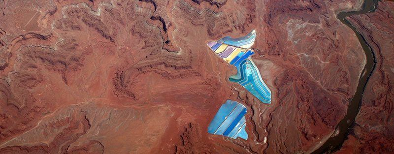 Aerial View of Potash Evaporation Ponds