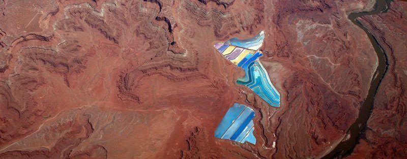 Aerial View of Potash Evaporation Ponds