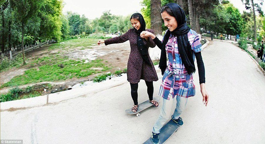 skateboard school holding hands afghanistan