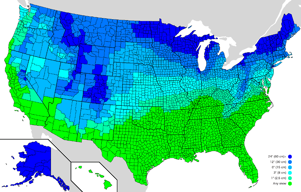 Amount Of Snow It Takes To Cancel School In America Map