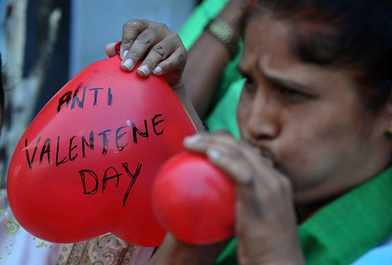 Indian Woman Protests Valentine's Day