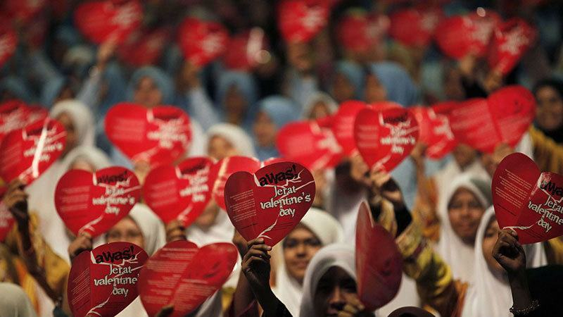 Muslim Women Protests Valentine's Day