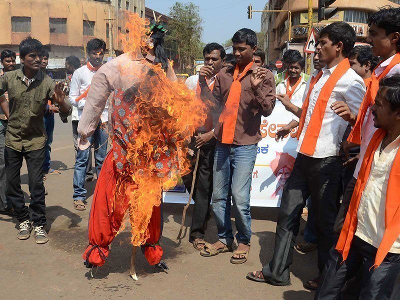 Shri Ram Sena Valentine's Day Protest