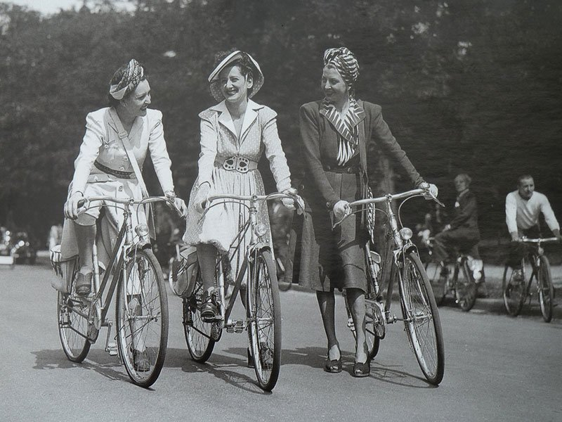 Women Ride Bicycles in Paris