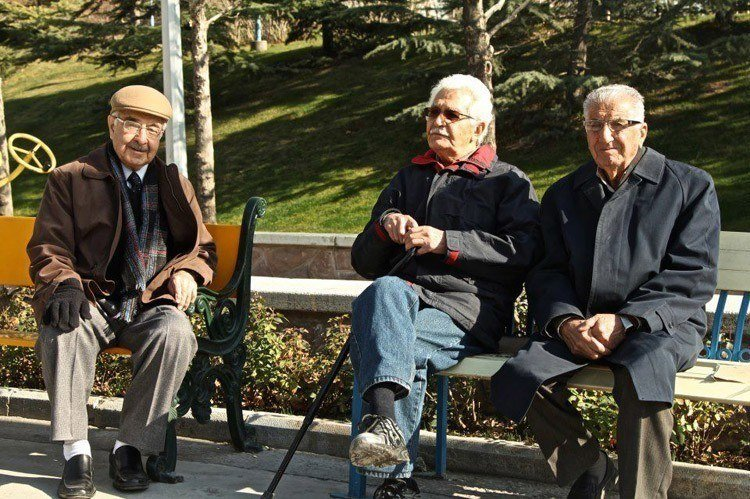 Everyday iran park bench men