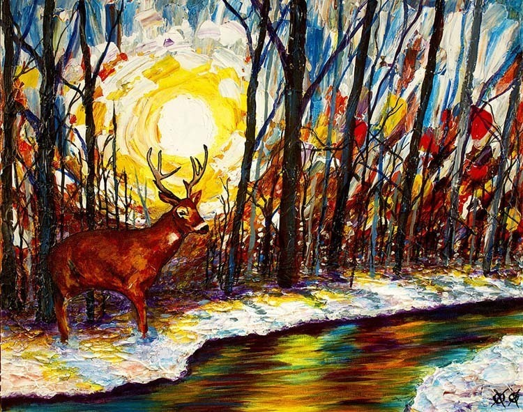 john bramblitt deer close stream