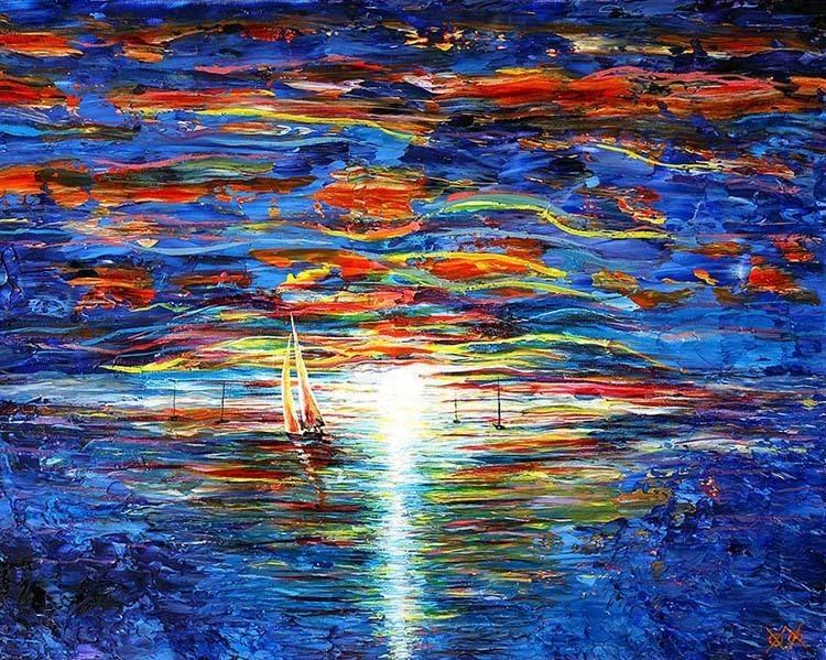 artist paints sailboat
