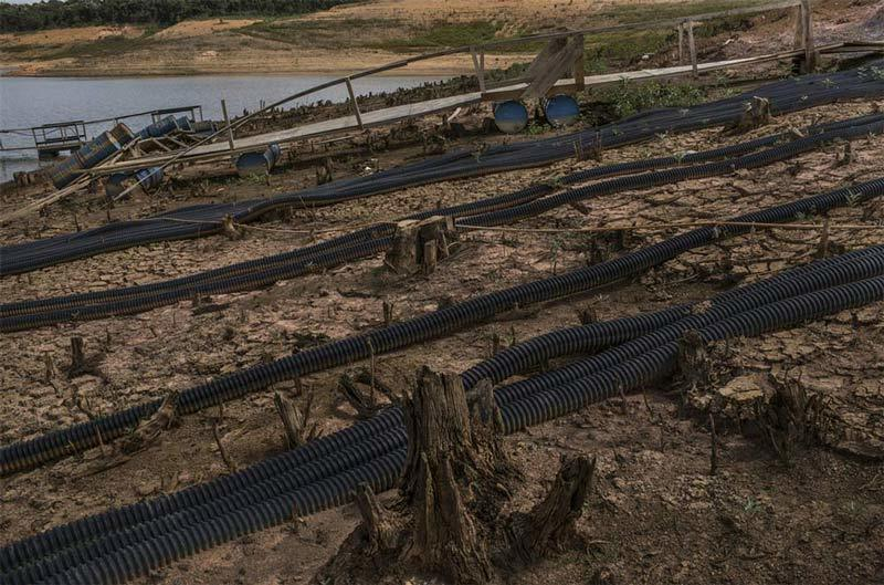 Dried pipes during Brazil's water crisis