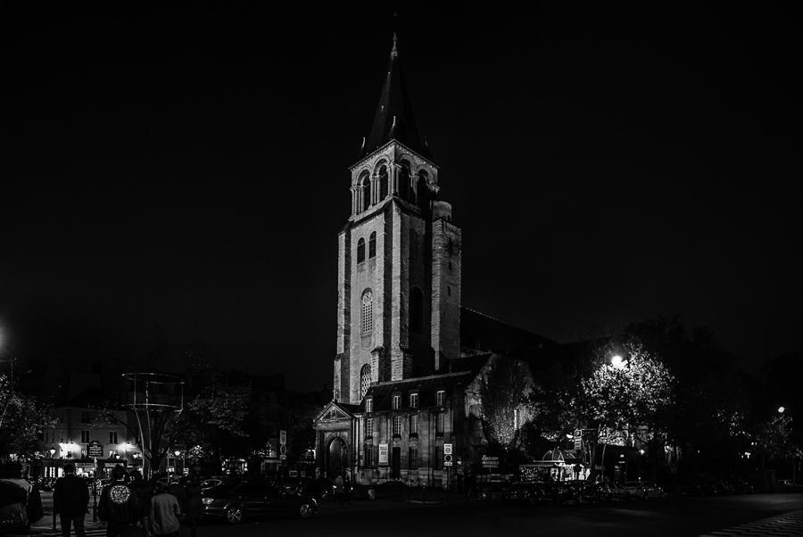 dark paris church tower
