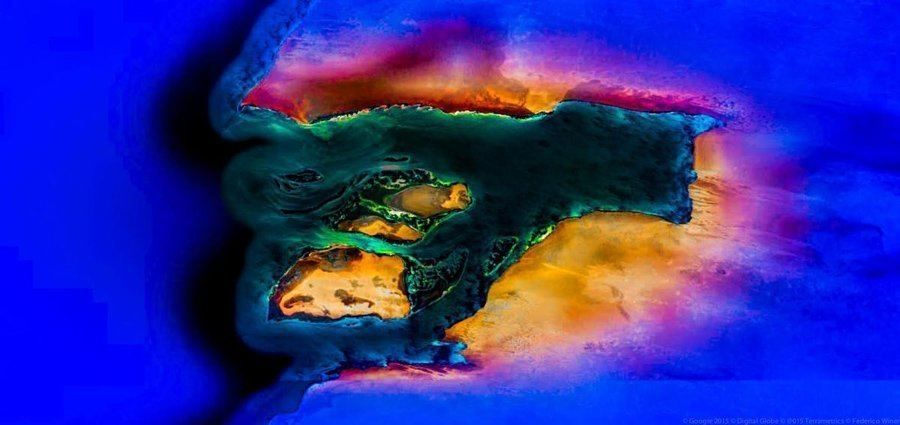 geometric earth colorful island