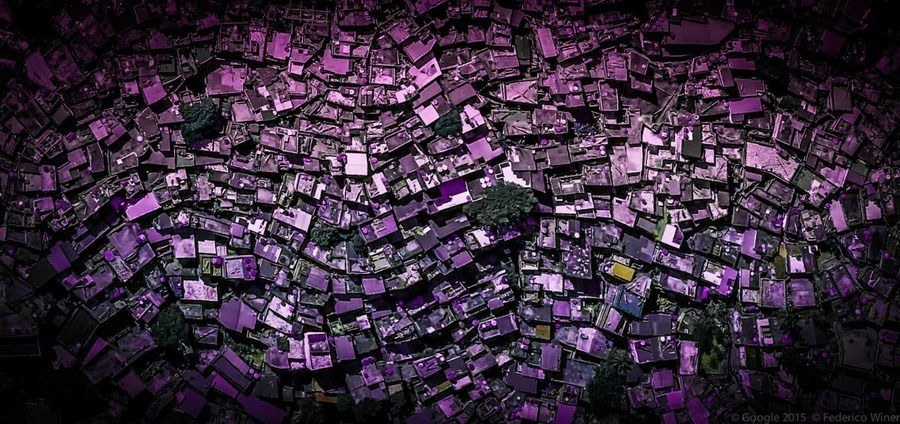 geometric earth purple rooftops