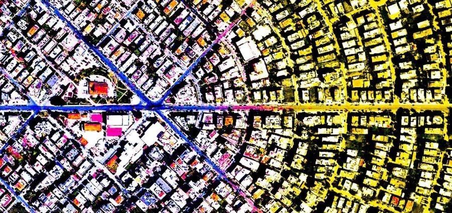 geometric earth rainbow pie