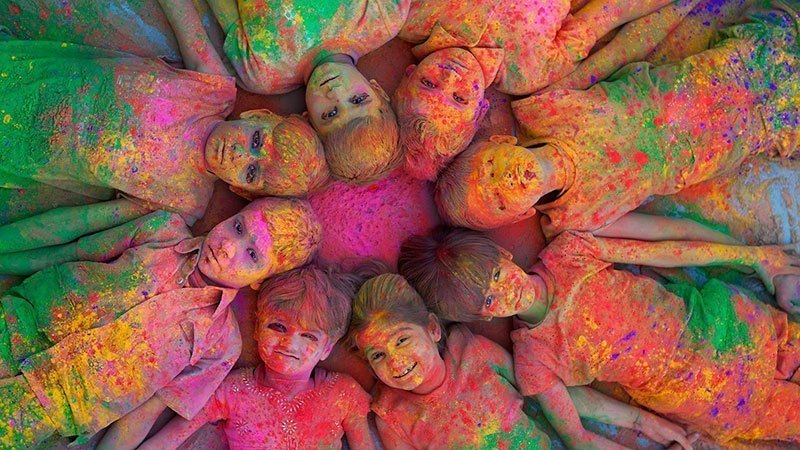 Children Attend Holi in India